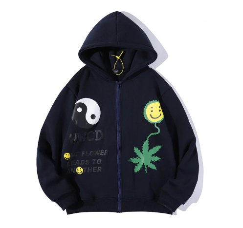 One flower leads to another black hoodie